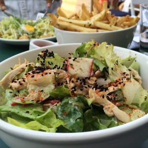 Chopped rotisserie chicken salad with peppers, and French fries cooked in wine vinegar, hot pepper& parsley. #venice#santamonica#superbafoodandbread#santamonicarestaurants#food#california#chickensalad#salad#frenchfries#lonedinerusa follow the lonediner as he eats his way through the USA at lonediner use.com#peppers#lincolnblvd