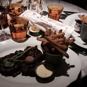 Steak Frites at Michael Mina's Bardot Brasserie in Aria. Not the same without #vegasbirdie and #alynnlester. But the LoneDiner is dining with his mother. #steak #steakfrites #frenchfries #michaelmina #bardotbrasserie #lasvegas #aria #brasserie #lonedinerusa . Follow the LoneDiner on his culinary adventures at lonedinerusa.com to catch up with his latest experiences.